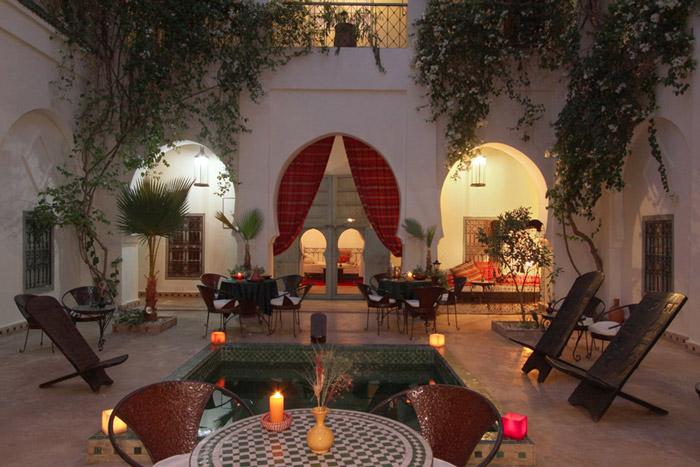 Photo of courtyard patio of Riad Dar Bounouar in Marrakech