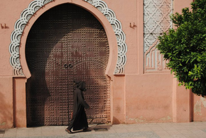 Photo of architecture in Marrakech, a beautiful door on the souk streets<br /><br /><br /><br />