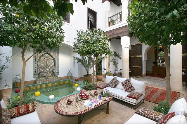 Photo of courtyard patio of Riad Karmela in Marrakech