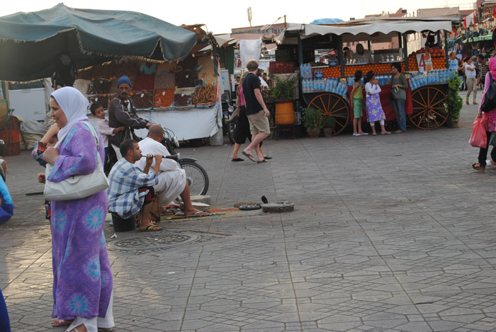 Photo of snake charmers in Jemaa el-Fnaa main square in Marrakech