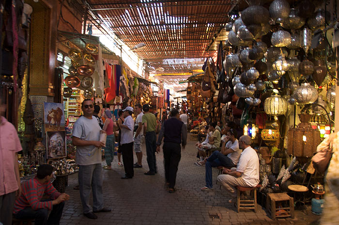 Photo of inside Marrakech souks in the old Medina of the city<br /><br /><br />