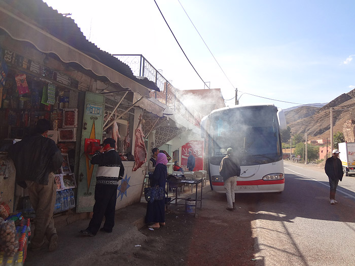 Photo of Supratour bus stop at Taddert in the High Atlas Mountains on the way to Marrakech