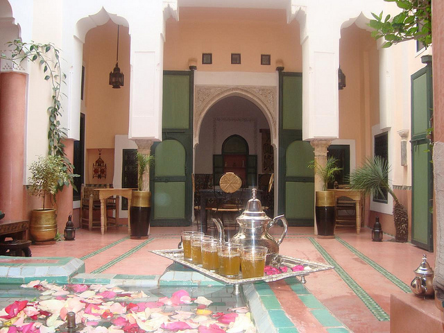 Photo of courtyard patio of Riad Ihssane in Marrakech
