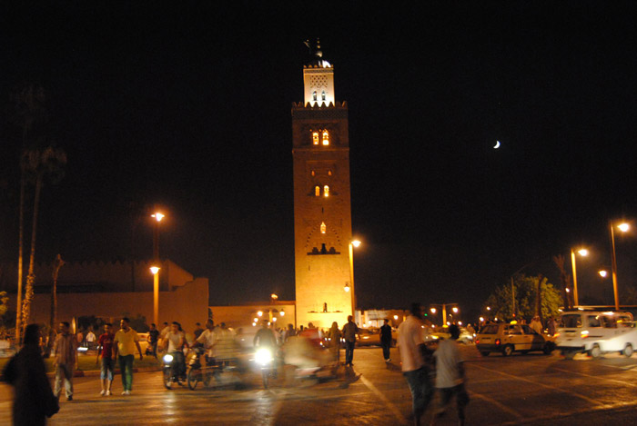 Photo of Koutoubia Mosque minaret lights by night in Marrakech