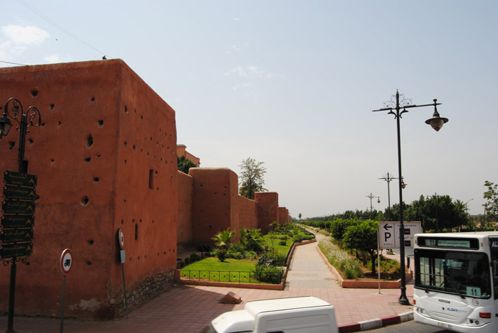 Photo of Marrakech rampart or castle wall on the way to the city center