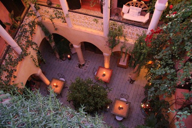 Photo of courtyard patio of Riad Merstane in Marrakech